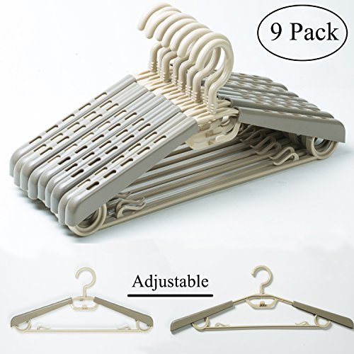 KChoies 9 Pack Plastic Extra Wide Adjustable Shoulder Suits Coats Cascading Heavy Duty Plus Size Garment Hangers with Swivel Hook, Gray