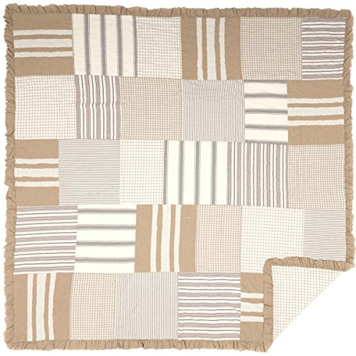 VHC Brands Boho & Eclectic Farmhouse Bedding - Grace White Quilt, Queen, Tan ()