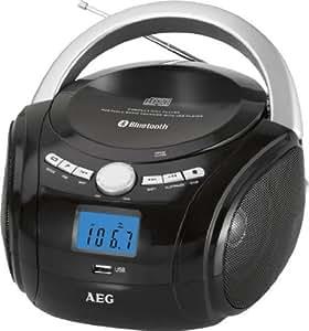 AEG SR 4348 - Radio estéreo con Bluetooth (CD-RW, FM, radio PLL, USB), color negro
