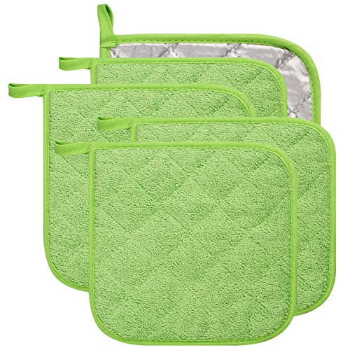 Lifaith 100% Cotton Kitchen Everyday Basic Terry Pot Holder Heat Resistant Coaster Potholder for Cooking and Baking Set of 5 Apple Green ()