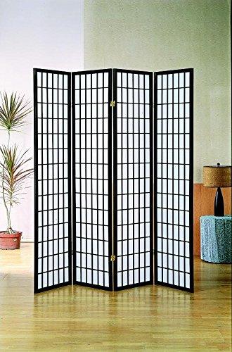 Milton Greens Stars 7033BK 4-Panel Dean Room Divider, Black