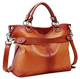 Heshe Women's Leather Shoulder Handbags Tote Top-handle Handbag Crossbodies Bags Satchel for Ladies(Sorrel)