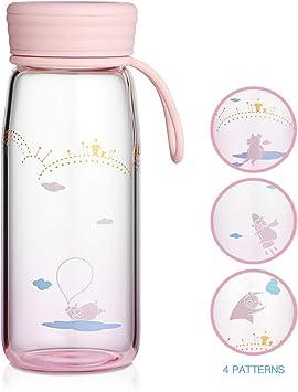 oneisall Cute Botellas de Agua – Botella de Agua de Vidrio de 13.7 ...