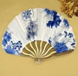 Deep Blue Summer Style Folding Hand Held Fan Fabric Floral Wedding Dance Favor Pocket Fan 1Pcs