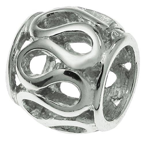 .925 Sterling Silver Filigree Net Wire Bead For European Charm Bracelets