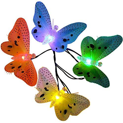 LUCKLED Fiber OpticButterfly Solar String Lights, 12ft 12 LED Waterproof Christmas Lights (Fiber Butterfly Light String)