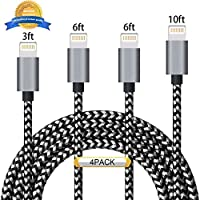 iPhone Cable Aonsen 4Pack 3FT 6FT 6FT 10FT Charging Cord Nylon Braided 8 Pin to USB Lightning Charger for iPhone 7,SE,5,5s,6,6s,6 Plus,iPad Air,Mini,iPod,Compatible with iOS10(Black Gray)
