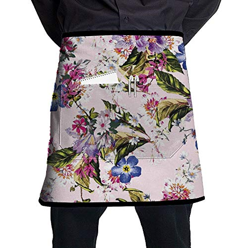 - GHDSKH Blue Pink Bouquet Waist Aprons Commercial Restaurant Home Bib Spun Poly Polyester Kitchen for Unisex