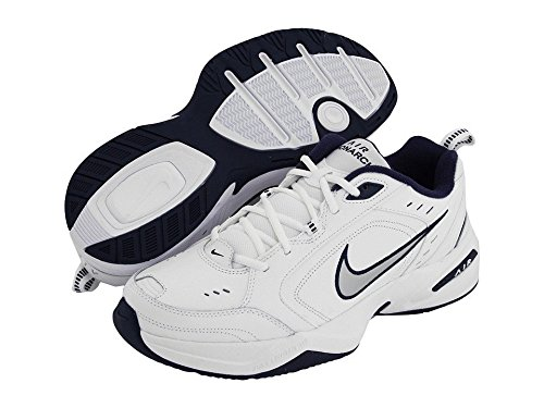 mens-nike-air-monarch-iv-training-shoe-white-metallic-silver-midnight-navy-size-11