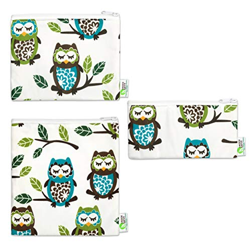 - Green Savvy Reusable Snack Bags For Kids & Adults, Durable, Non-toxic, BPA Free, Zipped, Washable & Dishwasher Safe, Eco-Friendly Sandwich Bags -Set of 3- (Sleepy Owl)