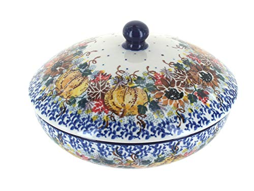 Blue Rose Polish Pottery Harvest Bounty Covered Bowl ()