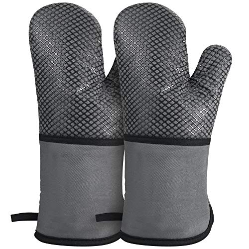 GoZheec Oven Mitts, Heat Resistant up to 500 Degrees Kitchen Gloves, Extra Long Sleeve Flexible Oven Gloves with Non-Slip Silicone for Kitchen Cooking, Baking, Grilling(2 Pack-Gray) (Than Oven Mitts)