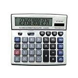 Calculator,14-Digits Solar Battery Dual Two Way Power Large Display Standard Office Finacial Desktop Calculators(Silver, CT-2214C)