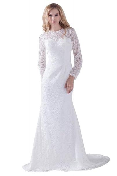 George Bride clásica Completo punta sirena con aermel para vestido de noche/Boda Ropa Vestidos