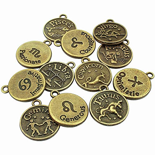 LolliBeads (TM) Jewelry Making Antique Brass Bronze Vintage Style Round Charm Zodiac Set of 12