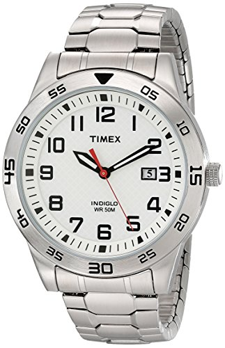 Calendar Stainless Steel White Dial (Timex Men's TW2P614009J Main Street Sport Silver-Tone Stainless Steel Watch With Expansion Band)