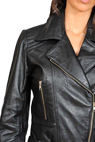 Ajusté Biker Taille En Véritable Cuir Noir Femmes Ceinture Moyenne Veste Hannah Zippé Longueur Manteau gnWIqdS