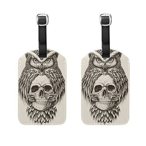 Bettken Owl Holding Skull PU Leather Luggage Tags Suitcase Labels Travel ID Identifier Baggage Tag(2 Pack)