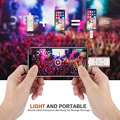 iPhone Flash Drive iOS Flash Drives for iPhone Photo Stick USB Backup Drive Black from PHICOOL