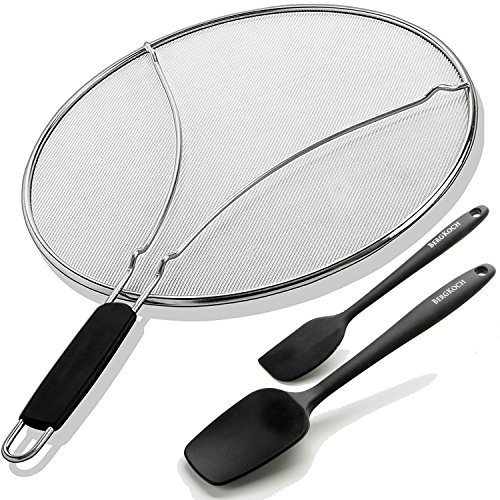 Splatter Screen For Frying Pan and Bonus 2 Pices Silicone Spatulas Heat Resistant - Kitchen Set - Cookware Accessories - Kitchen Gift (Silver, 13.01)