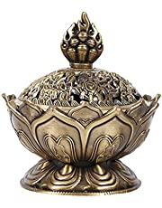 Incense Burner, Bronze Antique Chinese Asian Style Lotus Flower Incense Burner Pot Backflow Smoke Incense Burner Stick Cone Holder Zen Buddha Buddhist Meditation Decor Gift Set