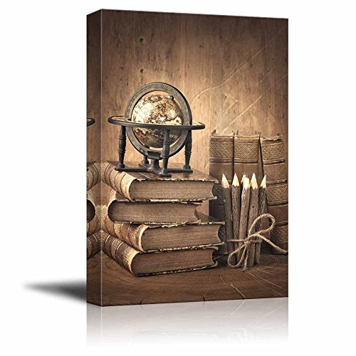 Vintage Style Stack of Books and Globe on Wooden Table ing