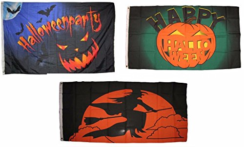 ALBATROS 3 ft x 5 ft Happy Halloween 3 Pack Flag Set #79 Combo Banner Grommets for Home and Parades, Official Party, All Weather Indoors Outdoors