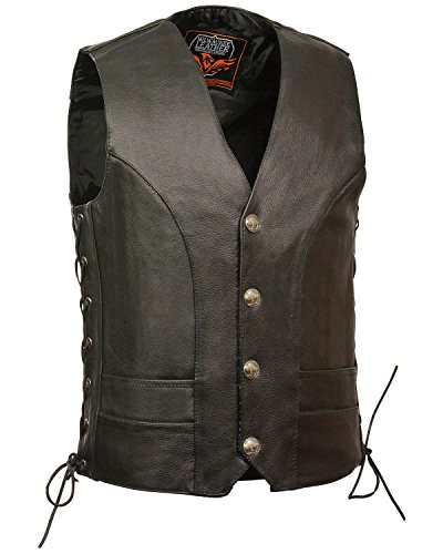 Milwaukee Leather Men's Buffalo Snap Side Lace Vest Big Black 52