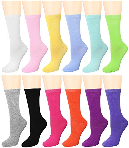 12 Pairs Women's Crew Socks (12 Assorted) 446-4-B96004 ()