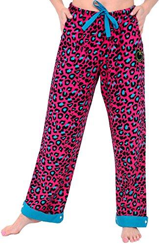 Del Rossa Womens Flannel Pajama Pants, Flip Cuff Cotton Pj Bottoms, Medium Pink Leopard (A0507N02MD) (Leopard Lounge Pants)