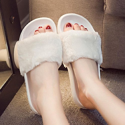 Slip Sunfei Flop Sliders Faux Sandal Slipper Flip Ladies Fur On Fluffy 02 Womens Flat White qxxpawFES