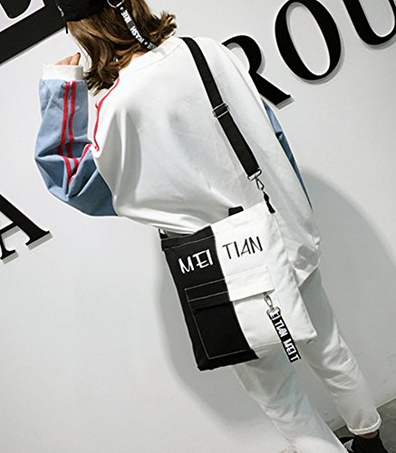 Bag Black Shoulder ZIIPOR Canvas Casual Bag Handbag Bag Hobo Women Crossbody ZZzwqB7U