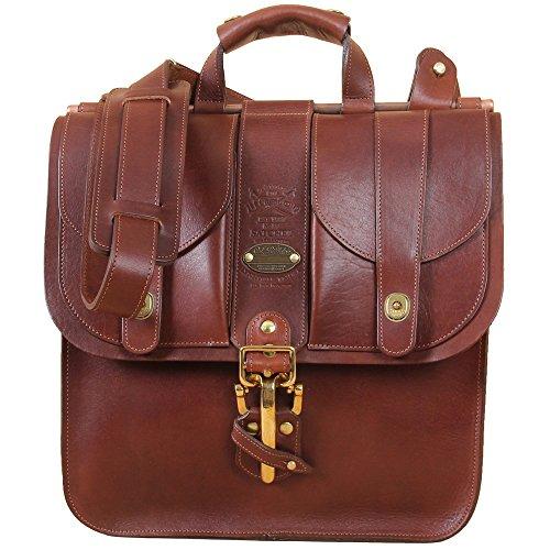 Leather Vertical Satchel Briefcase Brown Bag Adjusting Strap USA MadeNo. 37 (Leather Littleton)