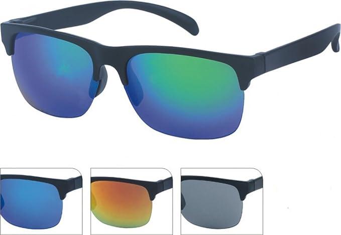 Gafas de sol de los hombres reflejan amplia azul colorido ...