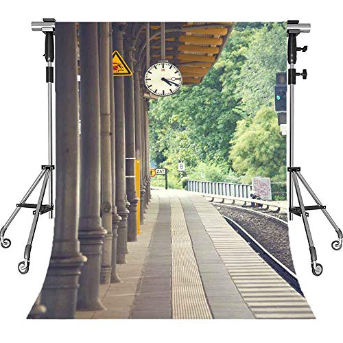 MEETS 5x7ft Train Station Backdrop Brick Floor Pillar Clock Railroad Tree Background Commercial Use Photo Booth Studio Props Themed Party Background MT387 ()