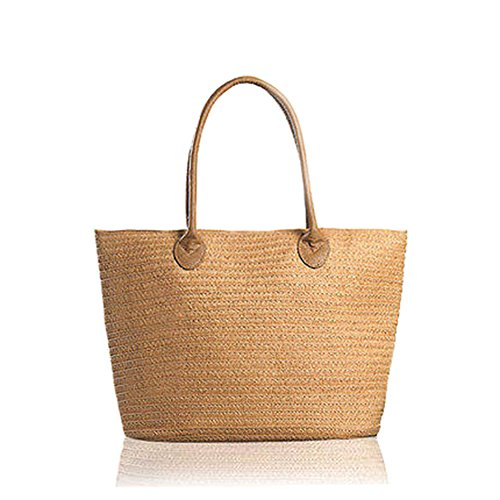 Hand Carry Shopper Tote Bag - Happy Lily Women Multifuctional Reusable Shopper Bag Carry-All & Organizer Straw Beach Tote Bag Shoulder or Top-Handle Handbag for Daily Using /Shopping/Beach Vacation/Baby/Outdoor Activities (brown)