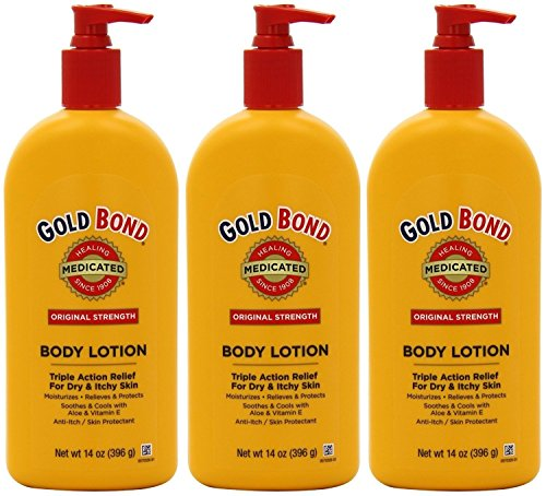 Gold Bond Medicated Body Lotion - Original Strength - Net Wt. 14 OZ (396 g) Each - Pack of 3 (Gold Bond Medicated Body Lotion)