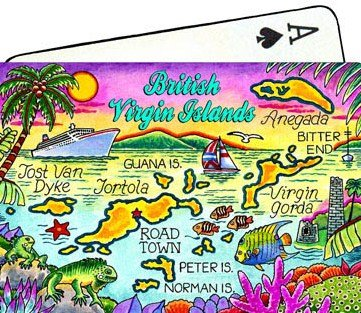 British Virgin Islands (Tortola) Map Collectible Souvenir Playing Cards