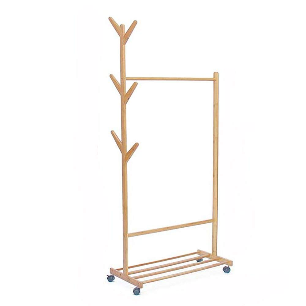 80 cm Coat Rack Creative Landing Clothes Rack Woody Storage Rack Moveable Wall Hanger 50cm Solid Wood Bedroom Haiming (Size   80 cm)