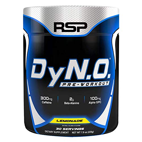 RSP Nutrition DyNO - Pre-Workout with Beta Alanine, Arginine and Alpha GPC for Energy, Power, Pump, Focus, All-Natural Colors & Flavors, Lemon Lime, 30 Servings