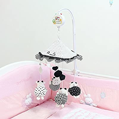 Black and White Cow Color Umbrella Multi-function Baby Crib Mobile Bed Bell with Sound and Light Music Box and Cute Toys ( Come with the Holder): Toys & Games