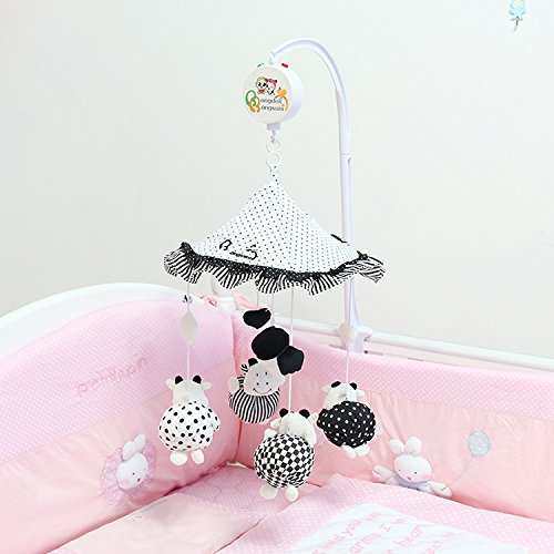 High Quality Black and White Cow Color Umbrella Multi-function Baby Crib Mobile Bed Bell with Sound and Light Music Box and Cute Toys ( Come with the Holder)