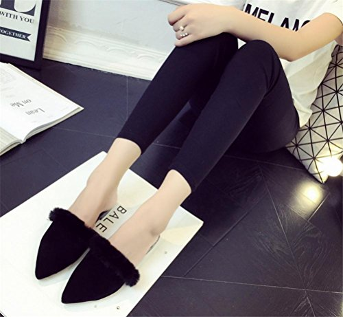 Ladies Casual Chic interior cálido zapatillas casa zapatillas, negro, 36