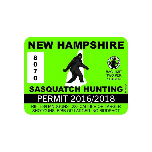 New Hampshire Sasquatch Hunting Permit - Color Sticker - Decal - Die Cut