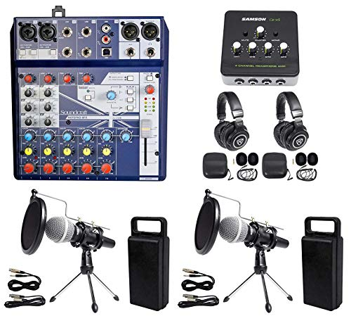 2 Person Podcasting Podcast Kit Soundcraft Mixer+Headphones+Mic+Stand (Best Headphones For Podcasting)