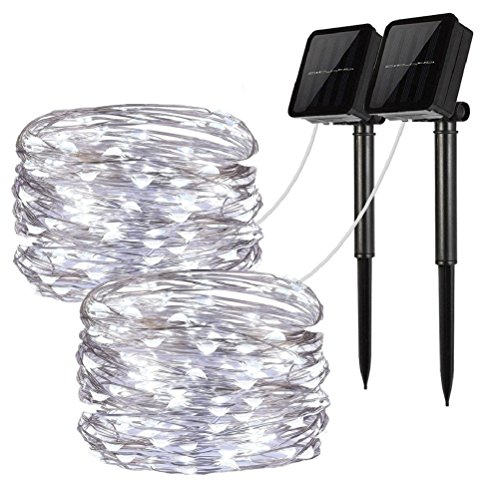 Solar String Lights, 2 Pack 100 LED Solar Fairy Lights 33 feet 8 Modes Copper Wire Lights Waterproof Outdoor String Lights for Garden Patio Gate Yard Party Wedding Indoor Bedroom Cool White - - Landscape Gate Garden