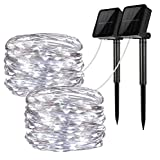 Solar String Lights, 2 Pack 100 LED Solar Fairy Lights 33 feet 8 Modes Copper Wire Lights Waterproof Outdoor String Lights for Garden Patio Gate Yard Party Wedding Indoor Bedroom (Cool White - 2 pack)