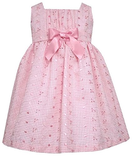Bonnie Jean Gingham Eyelet Pink Dress w/Bow - 18 Months - Special Occassion - Jeans Bonnie Gingham Jean