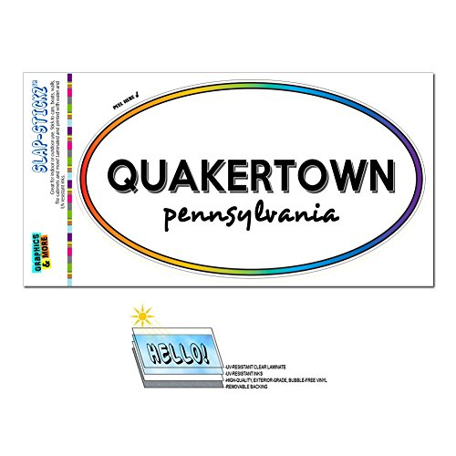Graphics and More Rainbow Euro Oval Window Laminated Sticker Pennsylvania PA City State Pun - Tit - Quakertown