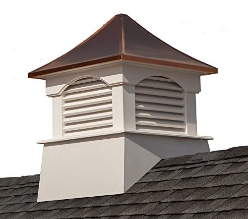 """Good Directions Vinyl Coventry Louvered Cupola with Pure Copper Roof, Maintenance Free Solid Cellular PVC Vinyl, 18"""" x 24"""", Quick Ship, Reinforced Roof and Louvers, Cupolas"""